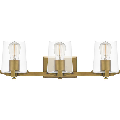 Quoizel 3 Light Perry Bath Light in Weathered Brass Finish, PRY8624WS