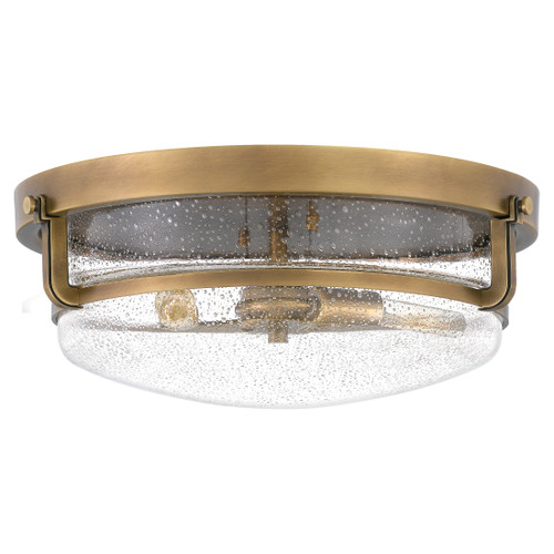 Quoizel 3 Light Outpost Flush Mount in Weathered Brass Finish, QF3411WS