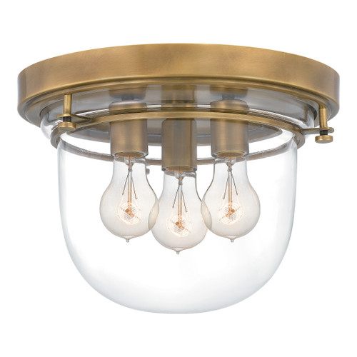 Quoizel 3 Light Whistling Flush Mount in Weathered Brass Finish, QFL5287WS