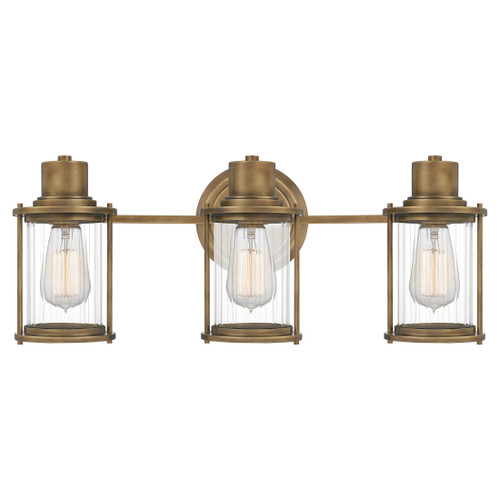 Quoizel 3 Light Riggs Bath Light in Weathered Brass Finish, RIG8622WS