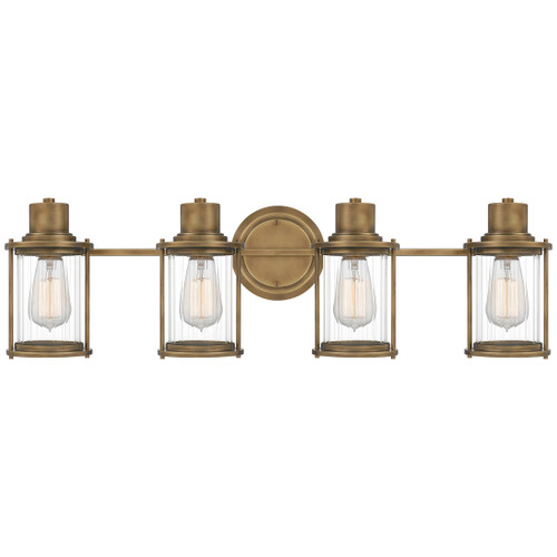 Quoizel 4 Light Riggs Bath Light in Weathered Brass Finish, RIG8630WS