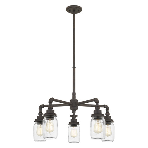 Quoizel 5 Light Squire Chandelier in Rustic Black Finish, SQR3526RK