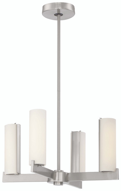 George Kovacs Tube Chandelier (Convertible To Semi Flush) in Brushed Nickel, P1854-084-L