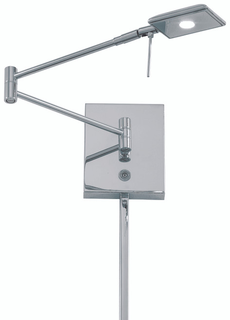 George Kovacs George's Reading Room 1 Light LED Swing Arm Wall Lamp in Chrome, P4328-077