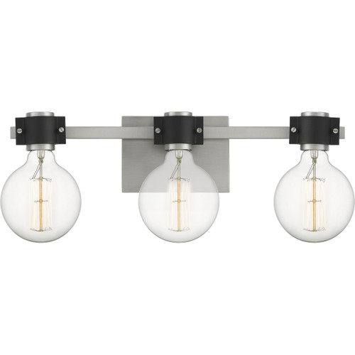 Quoizel 3 Light Curie Bath Light in Antique Nickel Finish, CUE8622AN