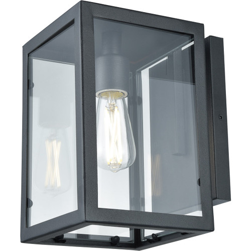DVI Lighting Baker Street Outdoor Wall Mount in Black with Clear Glass
