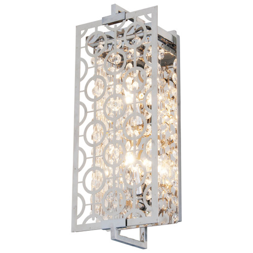 DVI Lighting Eclipse 2 Light Sconce in Chrome with Optic Glass Inserts