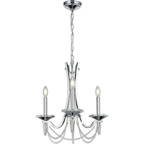 DVI Lighting Empress 3 Light Chandelier in Chrome with Optic Glass Inserts