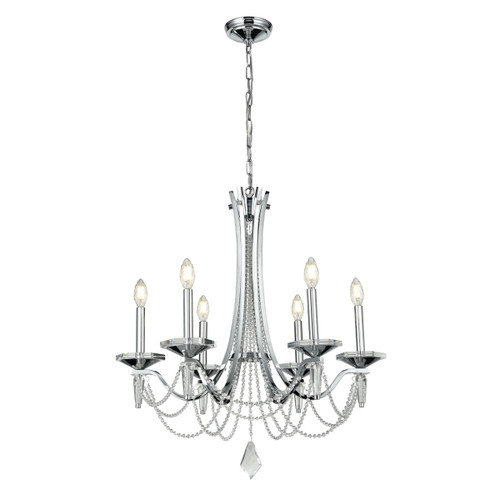 DVI Lighting Empress 6 Light Chandelier in Chrome with Optic Glass Inserts