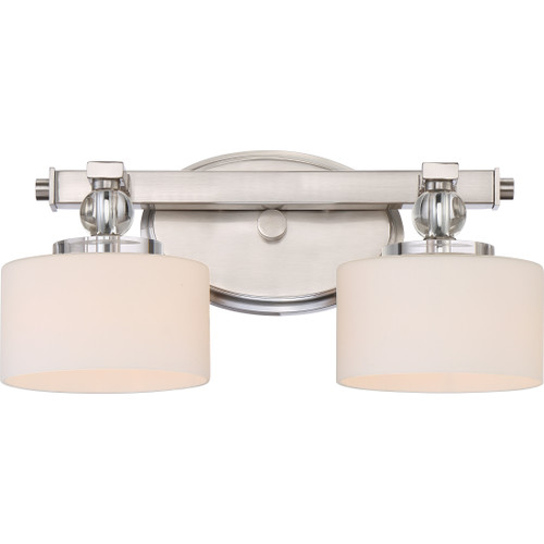 Quoizel Downtown Bath Light 2 Light, Brushed Nickel