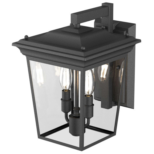 DVI Lighting Forest Hill 2 Light Wall Mount in Hammered Black with Clear Glass
