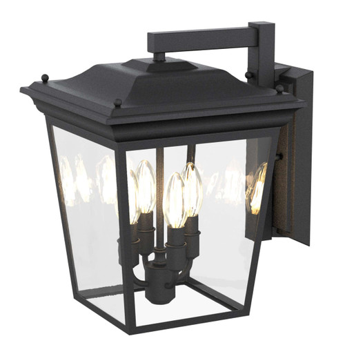 DVI Lighting Forest Hill 4 Light Wall Mount in Hammered Black with Clear Glass