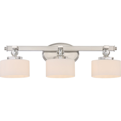 Quoizel Downtown 3 Light Bath Light in Brushed Nickel