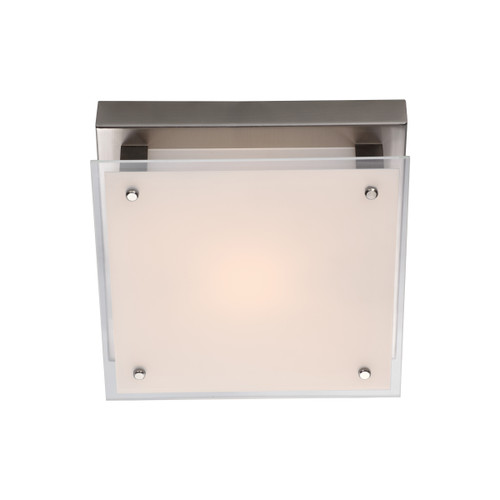 DVI Lighting Helios AC LED Small Flush Mount in Buffed Nickel with Silk Screened White Glass