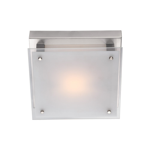 DVI Lighting Helios AC LED Small Flush Mount in Chrome with Silk Screened White Glass