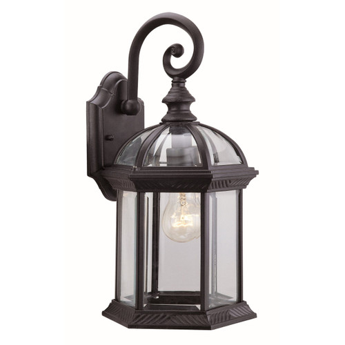 DVI Lighting Hexagon Small Clear Sconce in Black with Clear Glass