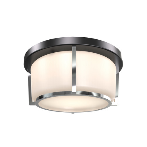 DVI Lighting Jarvis AC LED Small Flush Mount in Black and Chrome with Half Opal Glass