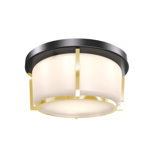 DVI Lighting Jarvis AC LED Small Flush Mount in Black and Soft Gold with Half Opal Glass