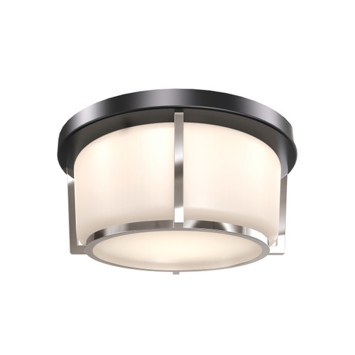 DVI Lighting Jarvis AC LED Small Flush Mount in Black and Satin Nickel with Half Opal Glass