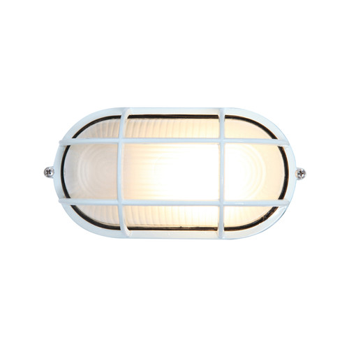 Access Lighting Nauticus 1 Light Outdoor LED Bulkhead in White with Frosted Glass, 20290LEDDLP-WH/FST
