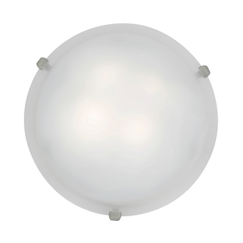 Access Lighting Mona Flush Mount in Brushed Steel with White Glass, 23019GU-BS/WH