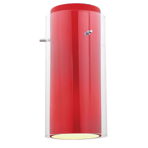 Access Lighting Glass`n Glass Cylinder Shade in Brushed Steel with Clear Red Glass, 23133-BS/CLRD