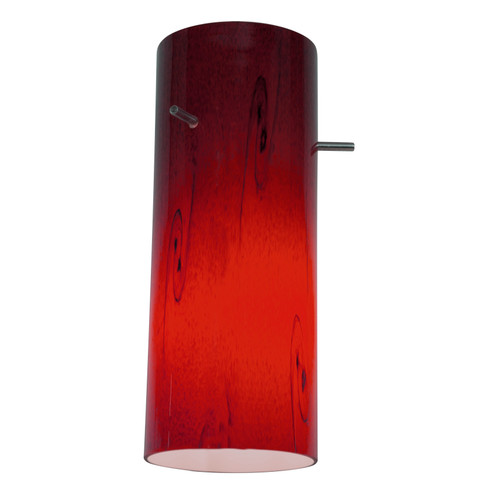 Access Lighting Glass`n Glass Cylinder Shade in Brushed Steel with Clear Red Sky Glass, 23133-BS/CLRUSKY