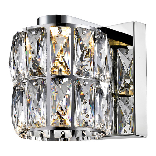Access Lighting Ice 1 Light LED Wall Sconce & Vanity in Mirrored Stainless Steel with Clear Crystal Glass, 62551LEDD-MSS/CCL