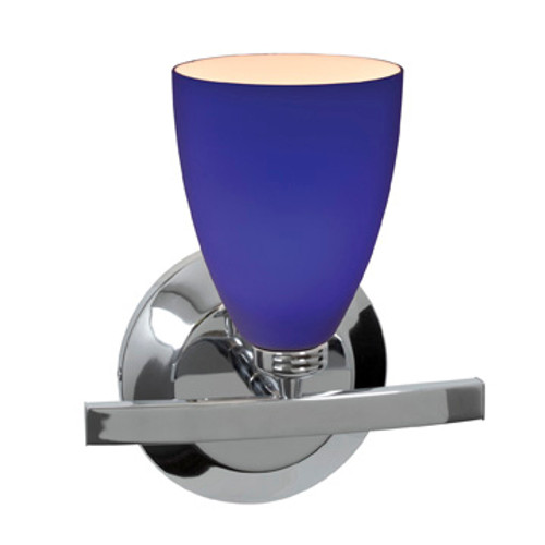 Access Lighting Sydney 1 Light Wall Sconce & Vanity in Chrome with Cobalt Glass, 63811-19-CH/COB