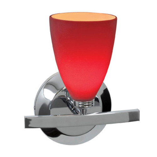 Access Lighting Sydney 1 Light Wall Sconce & Vanity in Chrome with Red Glass, 63811-19-CH/RED