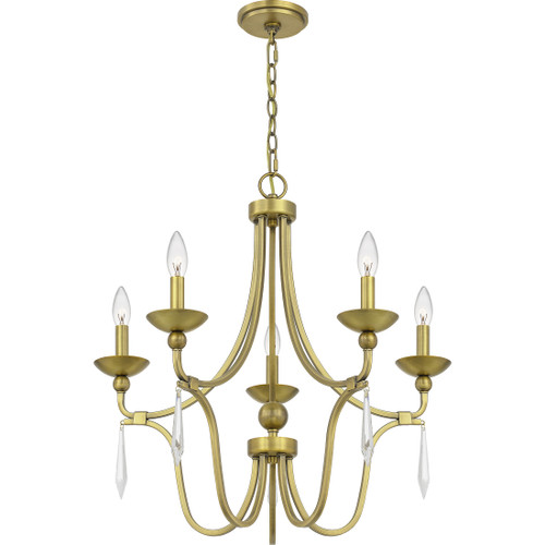 Quoizel 5 Light Joules Chandelier in Aged Brass Finish, JOU5025AB