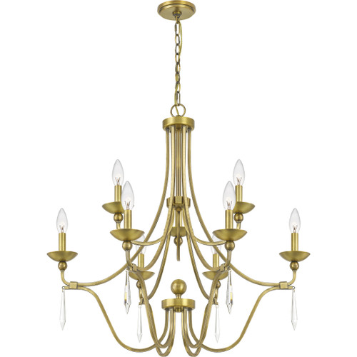 Quoizel 9 Light Joules Chandelier in Aged Brass Finish, JOU5032AB