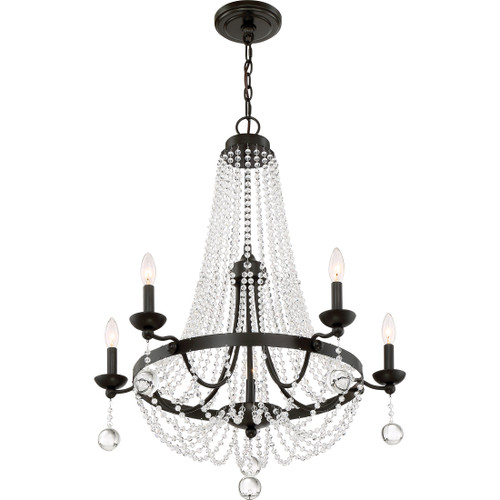 Quoizel 5 Light Livery Chandelier in Western Bronze Finish, LVY5005WT