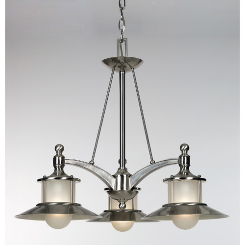 Quoizel 3 Light New England Chandelier in Brushed Nickel Finish, NA5103BN