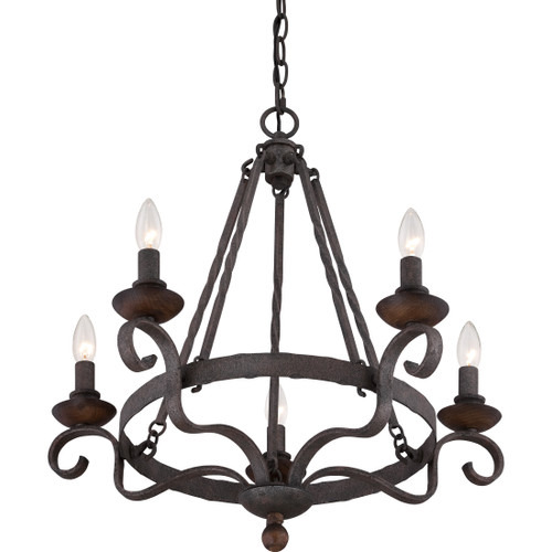 Quoizel 5 Light Noble Chandelier in Rustic Black Finish, NBE5005RK
