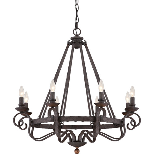Quoizel 8 Light Noble Chandelier in Rustic Black Finish, NBE5008RK