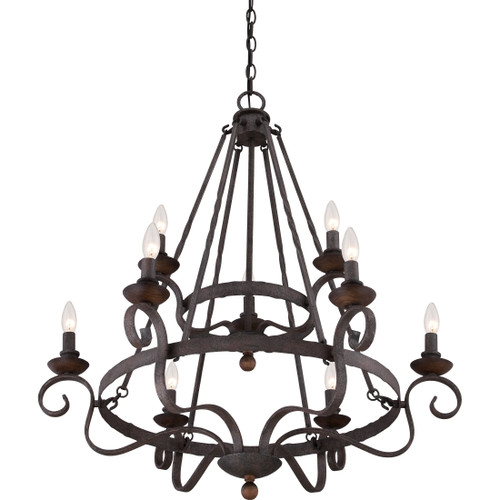 Quoizel 9 Light Noble Chandelier in Rustic Black Finish, NBE5009RK