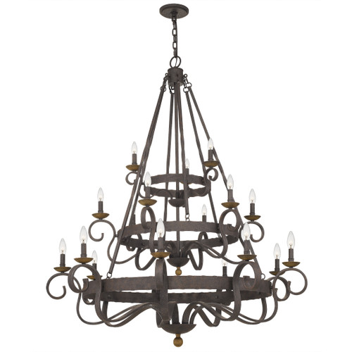 Quoizel 18 Light Noble Chandelier in Rustic Black Finish, NBE5018RK
