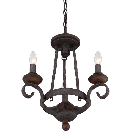 Quoizel 3 Light Noble Chandelier in Rustic Black Finish, NBE5303RK