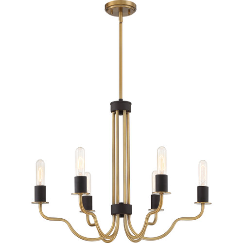 Quoizel Stride Chandelier 6 Light, Weathered Brass