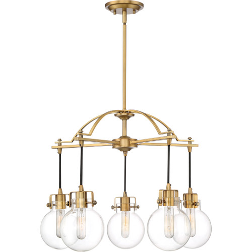 Quoizel 5 Light Sidwell Chandelier in Weathered Brass Finish, SDL5005WS