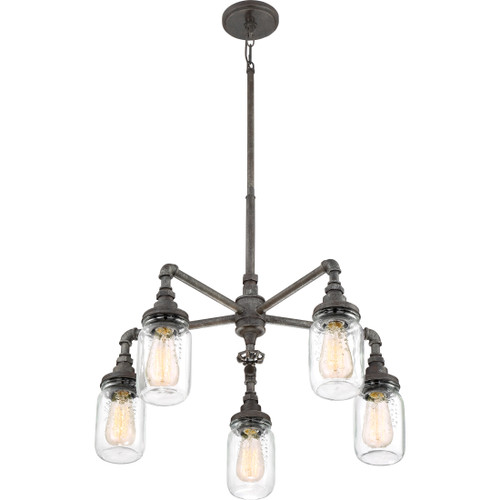 Quoizel 5 Light Squire Chandelier in Rustic Black Finish, SQR5005RK