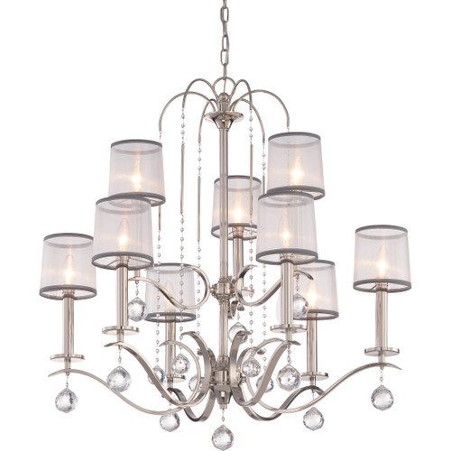Quoizel Whitney Chandelier 9 Light, Imperial Silver