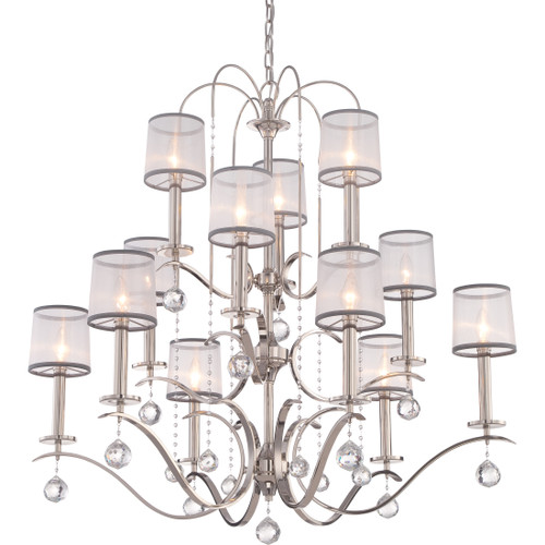 Quoizel Whitney Chandelier 12 Light, Imperial Silver