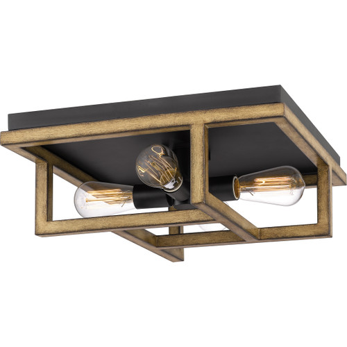 Quoizel 4 Light Spencer Flush Mount in Aged Walnut Finish, QF5230AWN