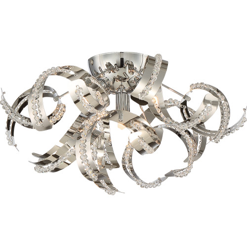 Quoizel 4 Light Ribbons Flush Mount in Crystal Chrome Finish, RBN1616CRC