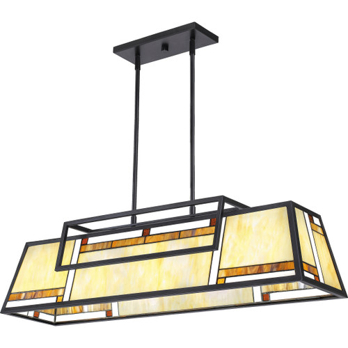Quoizel 4 Light Atwater Island Chandelier in Matte Black Finish, ATW439MBK