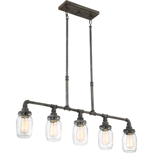 Quoizel 5 Light Squire Island Chandelier in Rustic Black Finish, SQR538RK