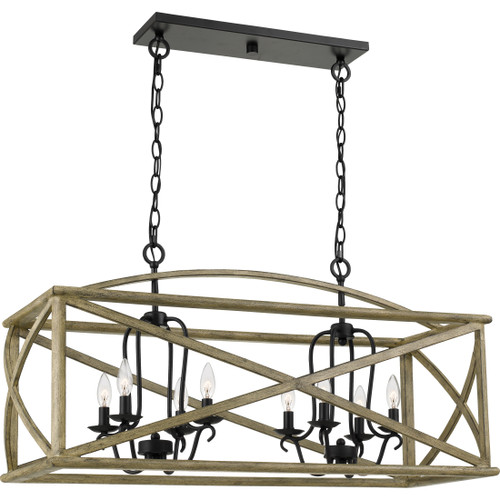 Quoizel 8 Light Woodhaven Island Chandelier in Distressed Weathered Oak Finish, WHN841DW