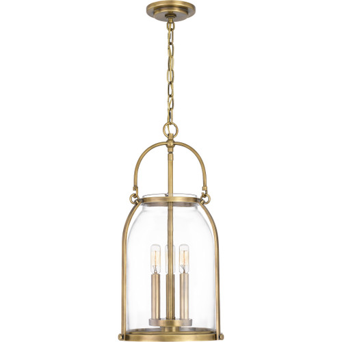 Quoizel 3 Light Colonel Mini Pendant in Weathered Brass Finish, QP5194WS